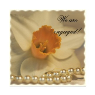 Flowers & Decor, Stationery, white, invitation, Invitations, Engagement Party, Flower, Floral, Pearls, Engagement, Engaged, A wedding collection by lora severson photography, Daffodil, Engagement party invitation, String of pearls