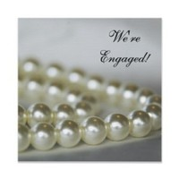 Stationery, white, invitation, Invitations, Engagement Party, Pearls, Engagement, Engaged, A wedding collection by lora severson photography, Engagement party invitation, String of pearls, Pearl necklace
