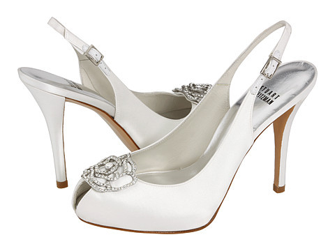 Flowers & Decor, Shoes, Fashion, white, ivory, Flower, Bridal, Back, Stuart, Weitzman, Zappos, Toe, Peep, Rhinstone, Sling