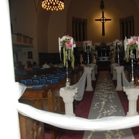 Ceremony, Flowers & Decor, silver, Ceremony Flowers, Aisle Decor, Flowers, Church, Aisle, Decorated, Beorias event planning