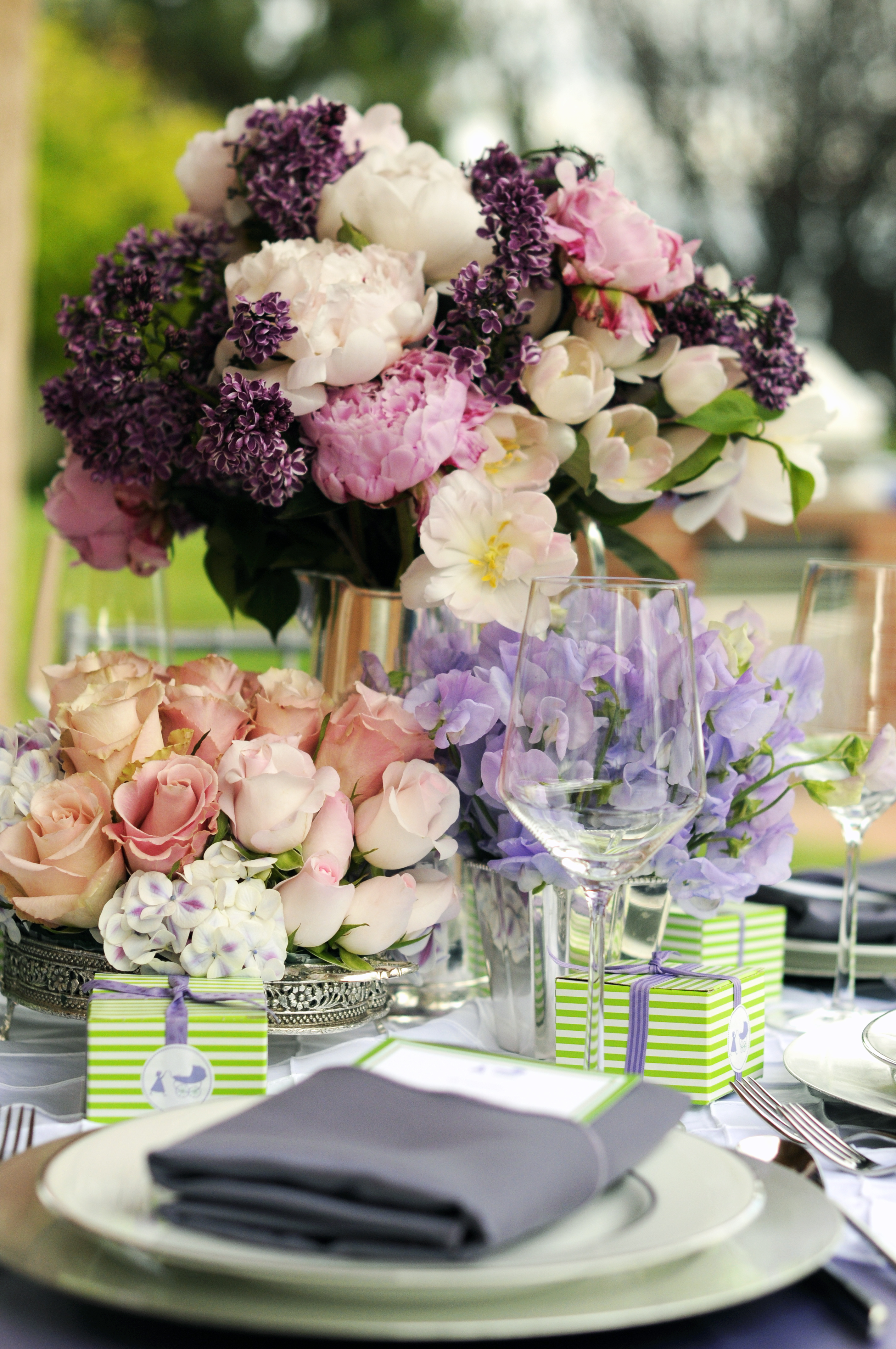 pink, purple, Garden Wedding Flowers & Decor, Spring Wedding Flowers & Decor