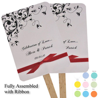 Ceremony, Reception, Flowers & Decor, white, yellow, orange, pink, red, purple, blue, green, brown, black, silver, Wedding, Fans, Accent the party