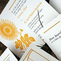 Stationery, white, yellow, black, gold, Invitations, Wedding, Garden wedding invitation, Lilywillow paper press