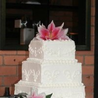 Cakes, white, pink, cake, Square Wedding Cakes, Square, Wedding, Buttercream, Scroll, Tiered, Lily, Piping, Bennys bakery