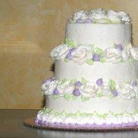 Flowers & Decor, Cakes, white, purple, green, cake, Flowers, Roses, Wedding, Buttercream, Tiered, Lavender, Leaves, Bennys bakery