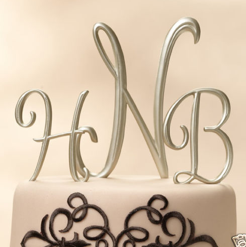 Cakes, silver, cake, Monogrammed Wedding Cakes, Monogram, Initials, Topper
