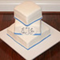 Cakes, white, blue, cake, Monogrammed Wedding Cakes, Square Wedding Cakes, Square, Monogram, Wedding, Fondant, Band, Tiered, Offset