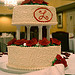 Flowers & Decor, Cakes, white, red, cake, Monogrammed Wedding Cakes, Flowers, Roses, Monogram, Wedding, Buttercream, Tiered, Pillars, Bennys bakery