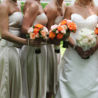 Flowers & Decor, Bridesmaids, Bridesmaids Dresses, Wedding Dresses, Cakes, Fashion, ivory, orange, gold, cake, dress, Bridesmaid Bouquets, Flowers, Champagne, Flower Wedding Dresses