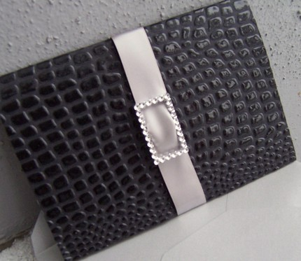 Stationery, black, silver, Invitations, Buckle, The extra detail, Crock