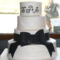 Cakes, white, black, cake, Monogrammed Wedding Cakes, Monogram, Wedding, Fondant, Buttercream, Simple, Bow, Dots, Swiss, Beaded, Border, Plain, Bennys bakery