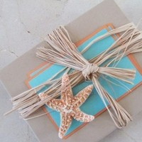 Stationery, Destinations, orange, Invitations, Tropical, Destination, Teal, Boxed, Starfish, The extra detail