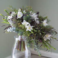 Flowers & Decor, white, purple, blue, green, black, silver, Bride Bouquets, Garden, Flowers, Garden Wedding Flowers & Decor, Bouquet, Cascade, Floral verde llc