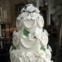 Flowers & Decor, Cakes, white, ivory, cake, Flowers, Roses, Wedding, Hydrangeas, Sugar, Drapes, Cake fiction