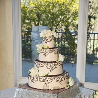 Reception, Flowers & Decor, Cakes, white, green, cake, A day to remember wedding event planners, Fall accent