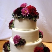 Cakes, white, ivory, pink, red, purple, cake, Wedding, Hydrangeas, Dahlias, Fresh, Cake fiction