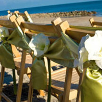 Ceremony, Flowers & Decor, blue, green, gold, Beach, Ceremony Flowers, Tables & Seating, Flowers, Beach Wedding Flowers & Decor, Wedding, Chair, Chairs, Ties, Reserved, Katherine miller events