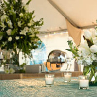 Reception, Flowers & Decor, blue, green, gold, Beach, Centerpieces, Flowers, Beach Wedding Flowers & Decor, Centerpiece, Wedding, Room, Shot, Linen, Katherine miller events