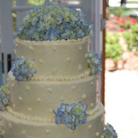 Reception, Flowers & Decor, Cakes, white, blue, cake, Spring, Wedding, Buttercream, Elegant, Hydrangea, Sugar on top