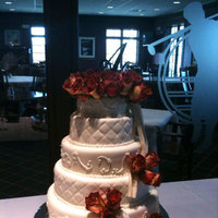 Reception, Flowers & Decor, Cakes, white, red, silver, cake, Roses, Wedding, Fondant, Elegant, Sugar on top
