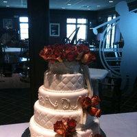 Reception, Flowers & Decor, Cakes, white, red, silver, cake, Roses, Wedding, Fondant, Elegant, Sugar on top