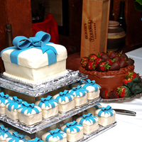 Reception, Flowers & Decor, Cakes, white, blue, brown, cake, Grooms cake, White grace photography, Brides cake