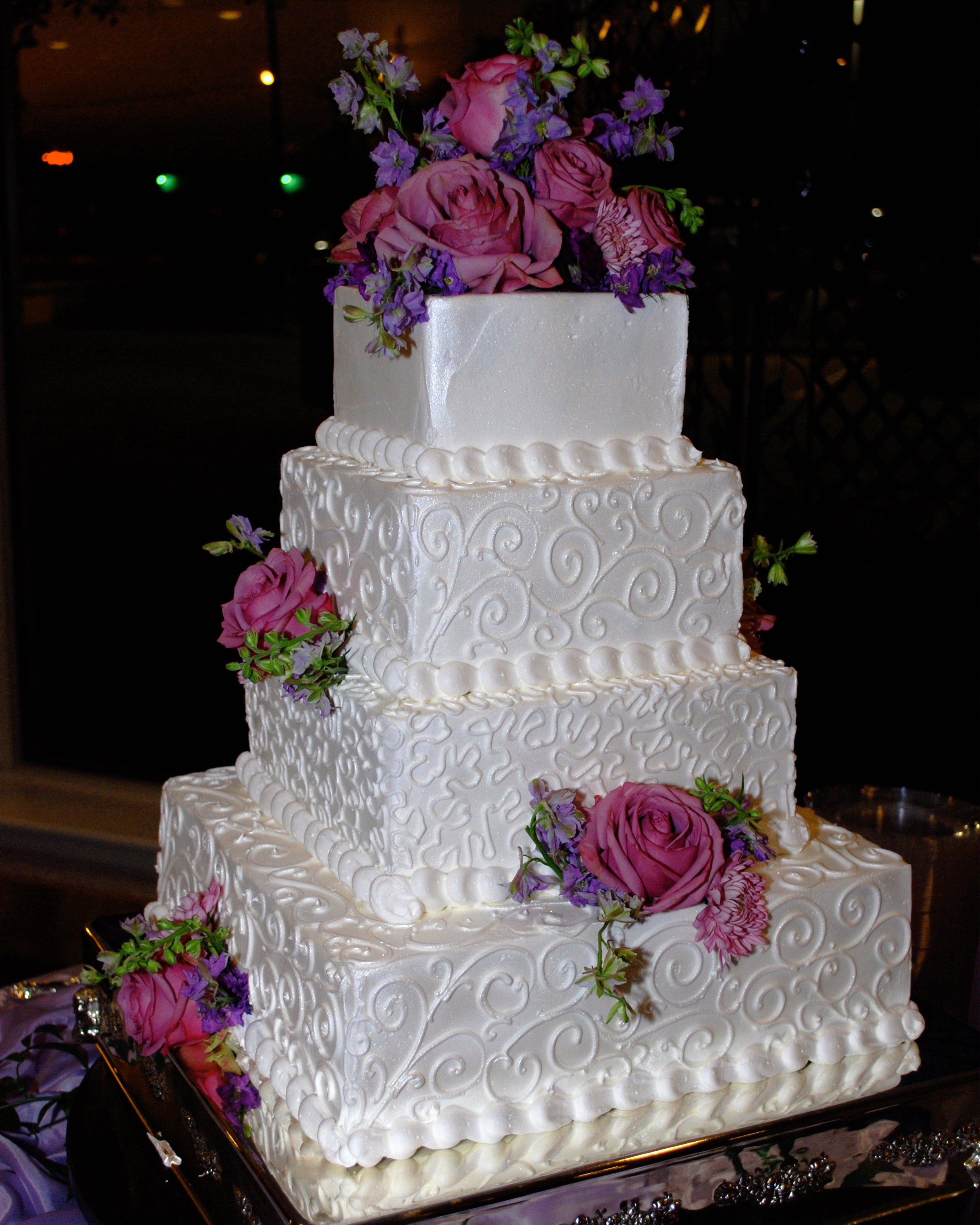 Reception, Flowers & Decor, Cakes, white, purple, cake, Shimmer, White grace photography