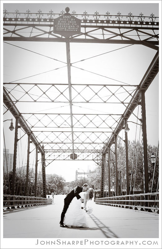 Bride, Groom, Dip, Bridge, Minneapolis, John sharpe photography