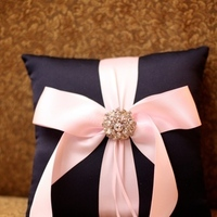 Jewelry, pink, blue, Brooches, Ring, And, Pillow, Bearer, With, Brooch, Navy