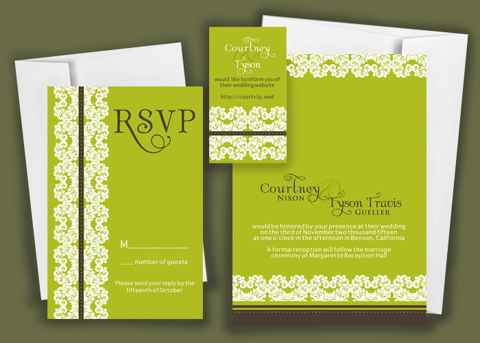 Stationery, white, green, brown, Modern, Invitations, Reply Cards, Save the date, Unique, Lace, Rsvp, Chic, Affordable, Do-it-yourself, Bold, Printable, Anna rae custom designs