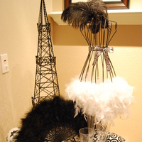 Beauty, Reception, Flowers & Decor, white, black, silver, Feathers, Centerpieces, Centerpiece, Elegant, Fan, Linens, Tower, An, Touch, An elegant touch, Feathered, Effiel, Mannequin