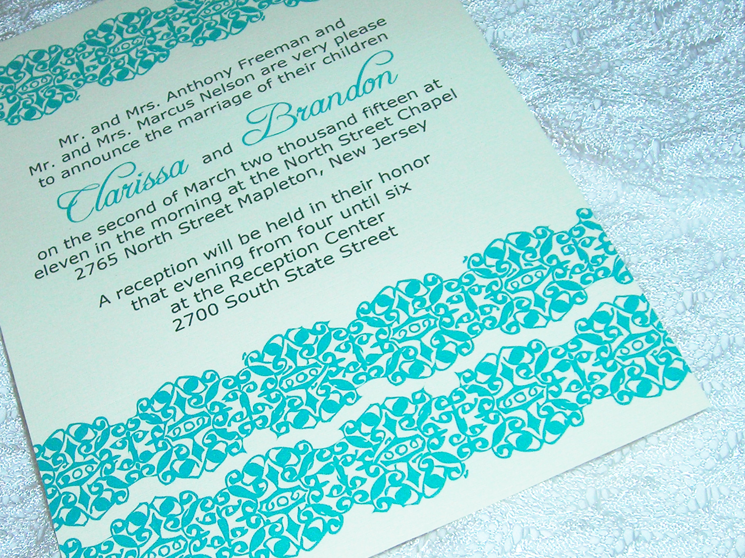 Stationery, white, blue, Modern, Classic, Invitations, Custom, Unique, Lace, Designer, Affordable, Pattern, Do-it-yourself, Printable