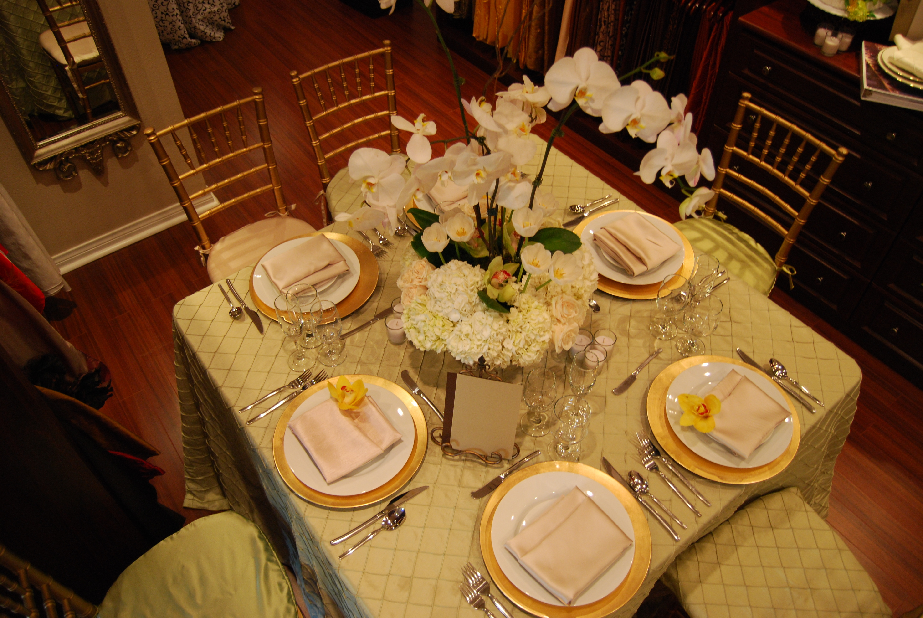 Reception, Flowers & Decor, white, pink, green, brown, gold, Centerpieces, Flowers, Roses, Centerpiece, Orchids, Elegant, Hydrangea, Tablecloth, An, Touch, An elegant touch