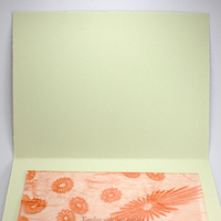Stationery, white, orange, green, brown, invitation, Invitations, Letterpress, Mounted, Smokeproof press, Lace overlay