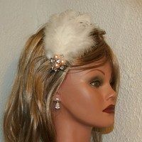 Beauty, Jewelry, Bridesmaids Dresses, Wedding Dresses, Fashion, white, ivory, pink, silver, dress, Feathers, Wedding, Bridesmaid, Hair, Bridal, Champagne, Pearl, Fascinator, Prom, Barrette, Feather, Donnaella wedding accessories, Feather Wedding Dresses