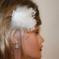 Beauty, Jewelry, Bridesmaids, Bridesmaids Dresses, Wedding Dresses, Fashion, white, silver, dress, Feathers, Comb, Hair, Crystal, Rhinestone, Fascinator, Feather, Donnaella wedding accessories, Feather Wedding Dresses