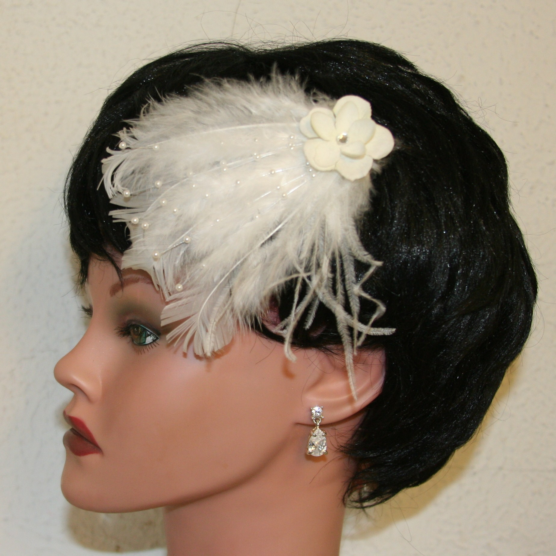 Beauty, Jewelry, Bridesmaids Dresses, Wedding Dresses, Fashion, white, ivory, silver, dress, Feathers, Wedding, Bridesmaid, Hair, Bridal, Champagne, Pearl, Fascinator, Prom, Barrette, Feather, Donnaella wedding accessories, Feather Wedding Dresses
