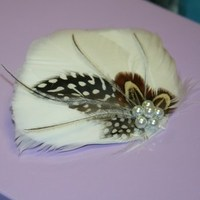 Beauty, Jewelry, Bridesmaids Dresses, Wedding Dresses, Fashion, white, ivory, brown, black, silver, dress, Feathers, Wedding, Bridesmaid, Hair, Bridal, Champagne, Pearl, Fascinator, Prom, Barrette, Feather, Donnaella wedding accessories, Feather Wedding Dresses