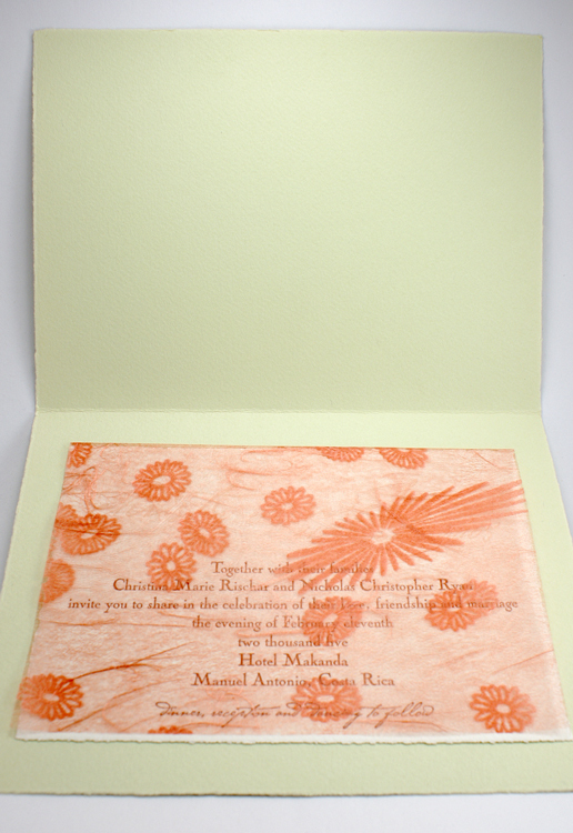 white, green, orange, brown, Invitations, invitation, Letterpress, Smokeproof press, Mounted, Lace overlay, Stationery