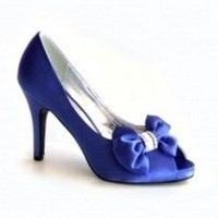 Shoes, Fashion, blue, Shoe, Satin, With, Bow, Toe, Peep, satin wedding dresses