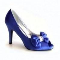 Shoes, Fashion, blue, Shoe, Satin, With, Bow, Toe, Peep, satin wedding dresses