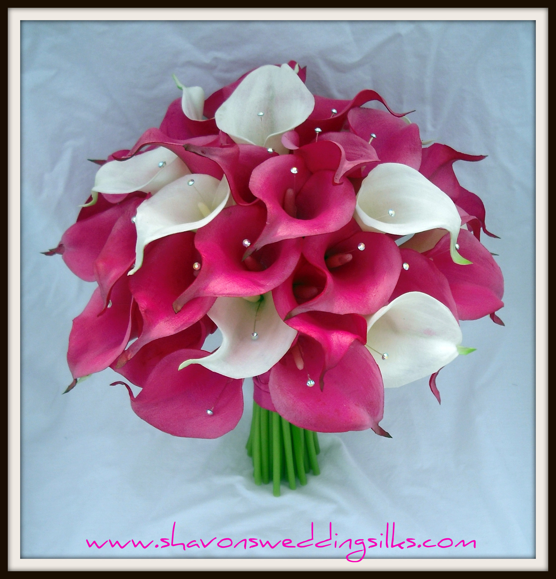 Flowers & Decor, white, pink, Bride Bouquets, Flowers, Bouquet, Wedding, Calla, Lilies, Cream, Natural, Bling, Crystals, Fuchsia, Touch, Shavons wedding silks, Floramatique