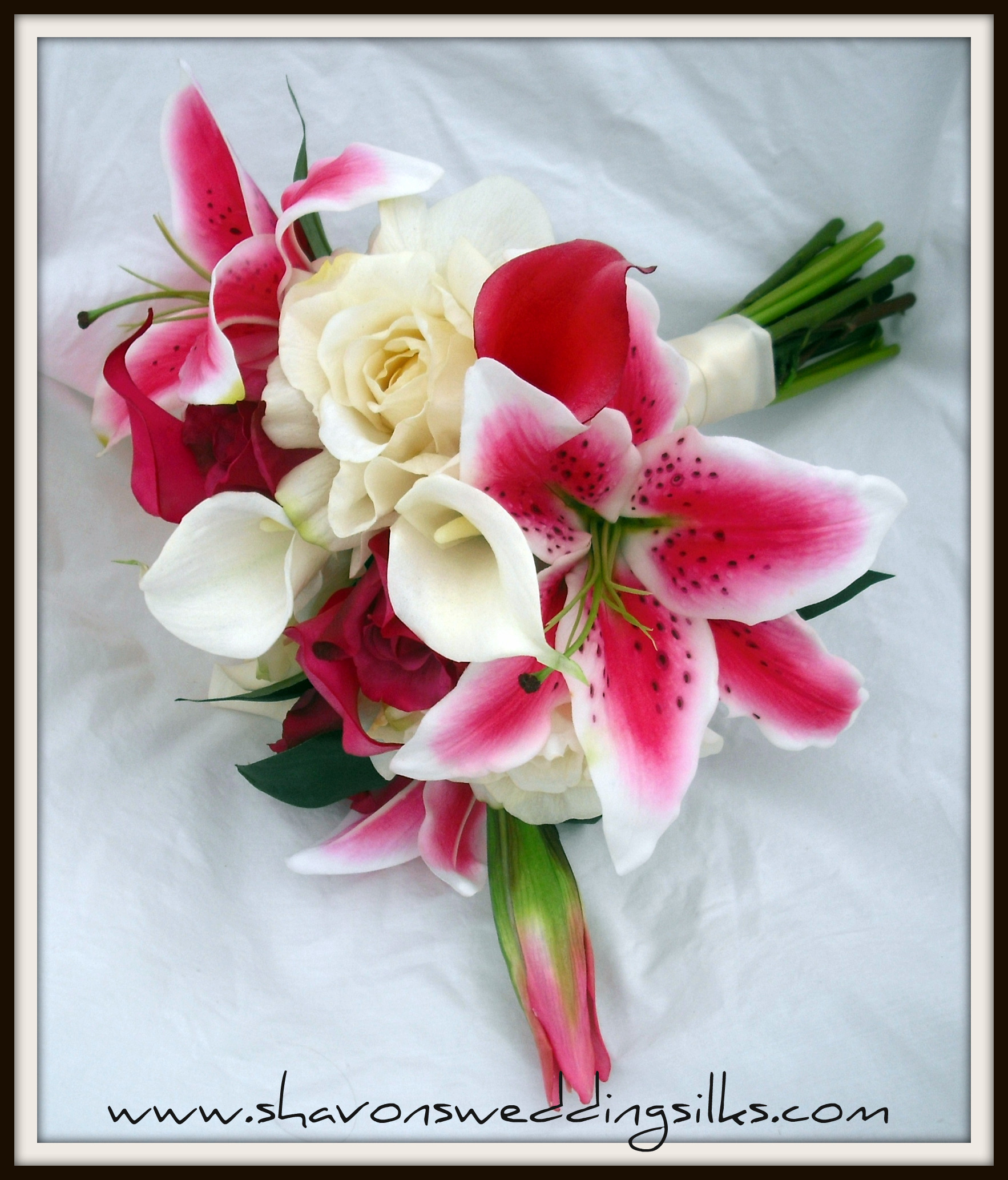 Flowers & Decor, white, pink, Bride Bouquets, Flowers, Roses, Bouquet, Wedding, Calla, Lilies, Cream, Stargazer, Fresh, Fuchsia, Touch, Shavons wedding silks, Real, Floramatique