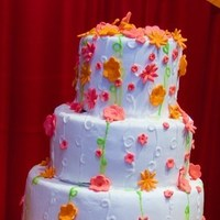 Cakes, white, orange, pink, green, cake, Summer, Wedding, August, Sugar and spice and, Multi-color, Hot colors