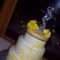 Cakes, yellow, gray, silver, cake, Wedding, Grey, Sugar and spice and, Detailed