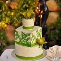 Cakes, white, green, cake, Square Wedding Cakes, Square, Round, And, Sugar and spice and