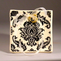 Ceremony, Flowers & Decor, white, black, Ring, Bearer, Cream, Damask, Dish, Tray, Dawn dalto ceramics