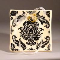 Ceremony, Flowers & Decor, white, black, Ring, Bearer, Cream, Damask, Dish, Tray, Dawn dalto ceramics