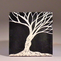 Inspiration, Flowers & Decor, Decor, white, black, Tree, Board, Home, Tile, Dawn dalto ceramics, Sgrafitto