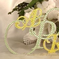 Reception, Flowers & Decor, Cakes, white, yellow, green, cake, Monogrammed Wedding Cakes, Monogram, Crystal, Topper, Letter, Triple, Dazzle me elegant